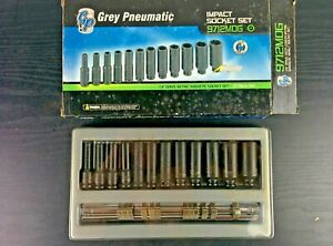 ad363 Grey Pneumatic 12 pc 1 4 Dr 6pt Magnetic Deep Impact Socket Set 9712mdg