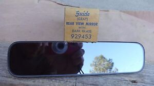Nos Guide Rear View Mirror Gray W Dark Glass Original Gm Deluxe Accessory