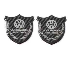 2x3d Volkswagen Carbon Fiber Car Front Body Trunk Rear Side Badge Emblem Sticker