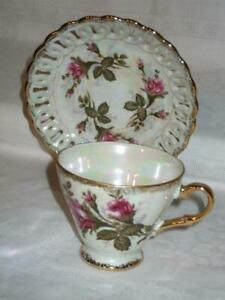 Royal Sealy China Lusterware Floral Iridescent Tea Cup And Saucer Made In Japan