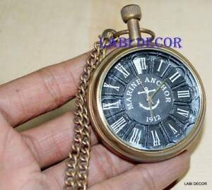 Antique Brass Watch Collectible Victorian Clock Nautical Leather Cover Decor Ld