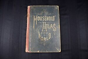 1885 Household Atlas Of World Color Maps Engravings Rand Mcnally Chicago Weekly