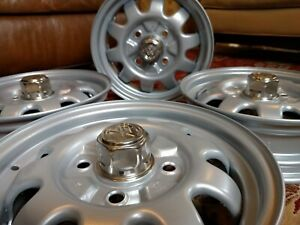 Vw Beetle Bug Baja Marathon Wheels Rims Center Caps 4 1 2j X 15 Inch Restored