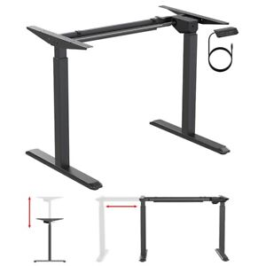 Electric Motor Height Adjustable Sit Stand Computer Desk Frame Home Office Black