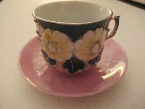 Vintage Pink Floral Cup Saucer Made In Germany