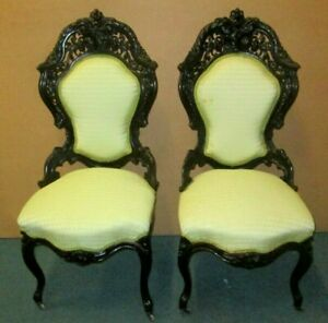 Antique Victorian Rosewood Parlor Chairs By Meeks In Hawkins Pattern Circa 1850s