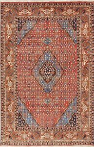 One Of A Kind Geometric Ardebil Persian Oriental Hand Knotted Wool Area Rug 6x10