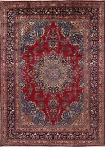 Traditional Floral Red Kashmar Persian Oriental Hand Knotted 8x11 Wool Area Rug