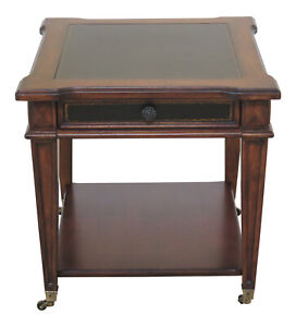 F30757ec Leather Top 1 Drawer Occasional End Table
