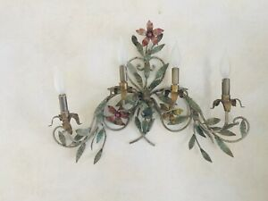 Antique Hollywood Regency Italian Toleware Lighted Wall Sconces