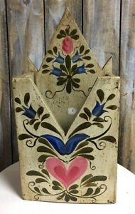 Antique Hanging Wood Box Wall Pocket Painted Flowers Letters Candles Folk Art
