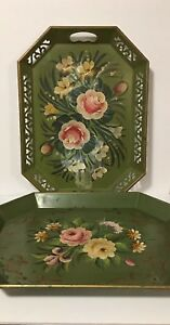 Vintage Pilgrim Art Toleware Tray Dark Green Hand Painted Floral 18 Lot Of 2