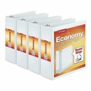 Round Ring View Binder 3 Inch White Pack Of 4 Binders 00430 Professional Looking