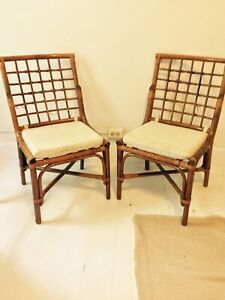 Vintage Mid Century Rattan Bamboo Chairs Lattice Back Dining Lot Of Two