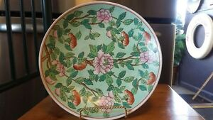 Antique Chinese Famille Verte 10 Charger Wall Plate Platter Bowl Dish