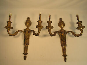 Antique Pair Of Ornate Metal Bacchus Wall Sconces Highly Detailed Ornate