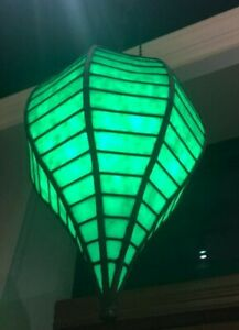 Large Apothecary Antique Green Leaded Glass Light Lamp Window Show Globe