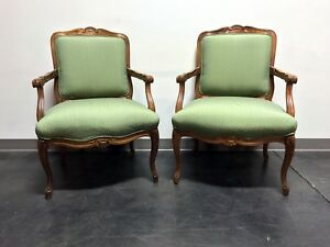 Vintage French Provincial Louis Xv Style Bergere Arm Chairs By Sam Moore Pair