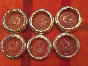 6 Sterling Silver Overlay Rim Scroll Pattern Coasters