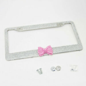 Anex 7 Rows Bling Diamond Crystal Usa License Plate Frame With Bow Tie Colorful