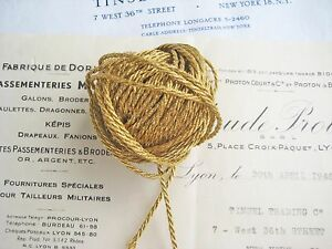 4 Yds Vintage Antique French Gold Metallic Cord Trim 1 16
