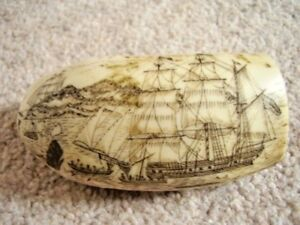 Antique Faux Scrimshaw Whale Walrus Tooth Engraving Whaler Lion