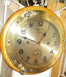 Vintage Ship S Time Brass Porthole Quartz Clock And Weather Station