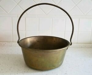 Antique Brass And Copper Kettle Large 1800s Hammered