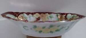 Antique Bone China Nut Candy Dish Beautifully Hand Painted