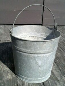 Vintage Galvanized Steel Pail Rustic Chore Bucket Farm Country Planter