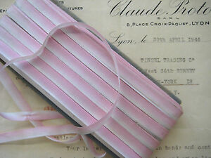 3yds Vintage French Baby Pink Ombre Rayon Ribbon Ribbonwork Flowers 1 4