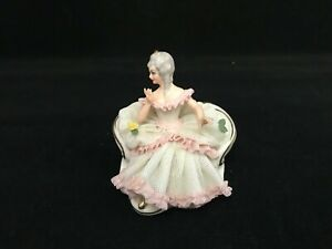 Vintage Dresden Porcelain White Pink Lace Figurine Of Lady On Her Sofa