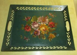Antique Vtg Green Metal Hand Painted Floral Lattice Toleware Tray