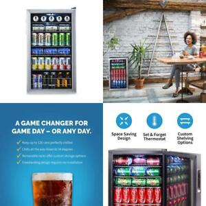 Beverage Cooler Refrigerator Mini Fridge Glass Door Perfect Soda Beer Wine 126
