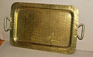 Antique Russian Hammered Solid Brass And Copper Tray Hallmark