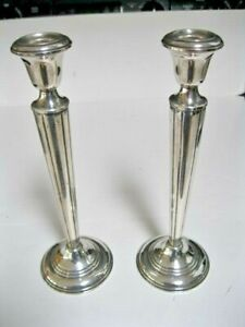 Pair Of Empire Weighted Sterling Silver Candlesticks Model 374 925 9 75 Old