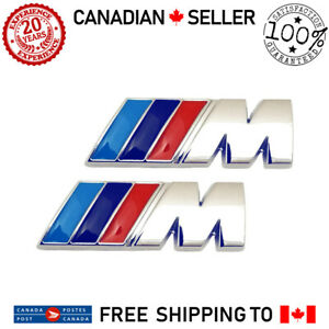 2x Bmw M Tech Performance Tri Color Fender Emblem Badge Logo Set