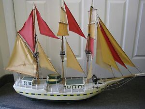 48 X 34 Antique Folk Art Model Sail Ship Boat Hand Made Nicly Made Signed Hull