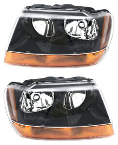 For 1999 2000 2001 Jeep Grand Cherokee Laredo Headlight Headlamp Pair Set