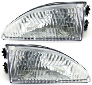 For 1994 1995 1996 1997 1998 Ford Mustang Headlight Headlamp Pair Set