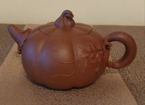 Incredible Yixing Zisha Purple Clay Teapot Gourd With Beetles Signed With Seal