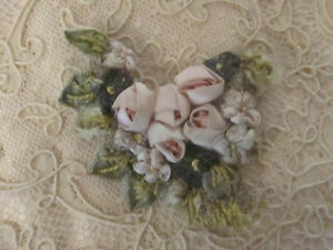 Beautiful Antique Silk Ribbon Work Of Roses And Flowers With Leaves Unique Desig