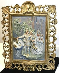 Bradley And Hubbard Cast Iron Hand Painted Table Top Plaque The Wedding Gift