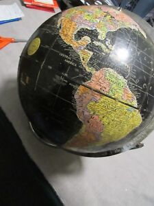 Vintage Black Globe Of The Earth Encyclopedia Britannica