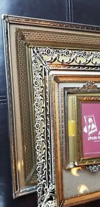 6 Vintage Ornate Silver Gold Tone Metal Picture Photo Frames 1940 1970