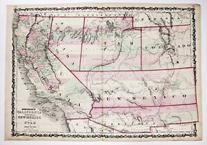 1863 New Mexico Territory Map Colorado Nevada Arizona Utah California Original