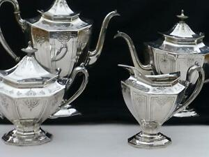Art Deco Embossed Reed Barton Silver Tea Coffee Service Set Sierra 3690 3694