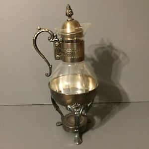 Vintage Glass Silver Plated 4 Piece Coffee Pot Warmer
