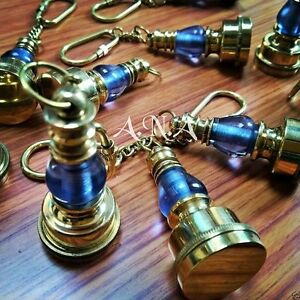 Brass Nautical Lamp Keychains Lot Of 10 Marine Collectible Keychain
