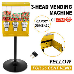 Yellow Triple Bulk Candy Vending Machine Gumballs 3 Head Nuts Pc metal